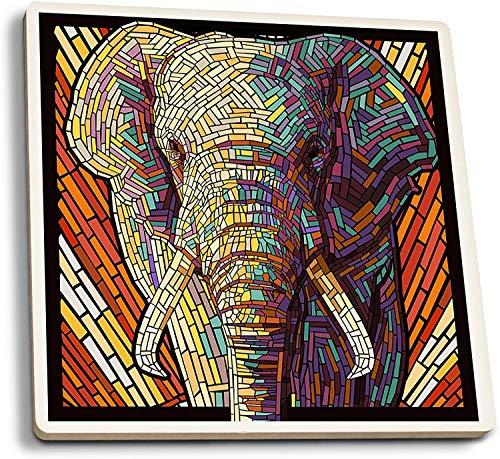 Elefante africano - Mosaico de papel (juego de 4 posavasos de cerámica, con respaldo de corcho, absorbente)