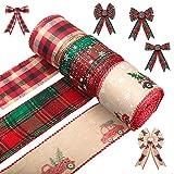 JNUYISW Cinta de Navidad con Cable, 3 Rollos de Cinta de arpillera a Cuadros de búfalo Rojo con Borde de Alambre, Cintas de Navidad para Envolver Regalos, árbol de Navidad, Manualidades, decoración