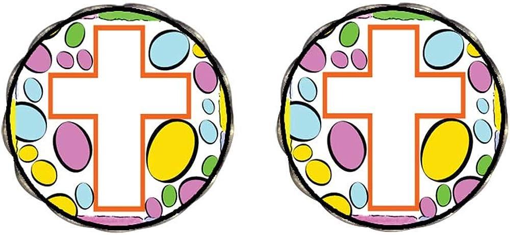 GiftJewelryShop Bronze Retro Style Easter Day white cross cartoon Clip On Earrings Flower Earrings #12