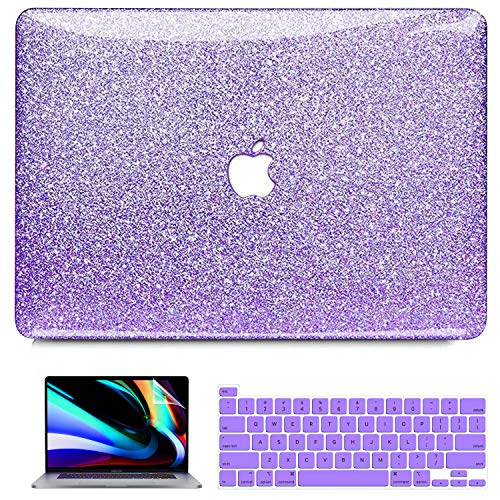 MacBook Pro 13 inch Case 2020 2019 2018 2017 2016 A2251 A2289 A2159 A1989 A1708 A1706, iPAPA Glitter Sparkly Glossy PC Hard Case + Keyboard Cover + Screen Skin for Pro 13 with Touch Bar & Touch ID