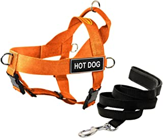 """Dean & Tyler DT Universal No Pull Dog Harness with""""Hot Dog"""" Patches and Puppy Leash, Orange, Large"""