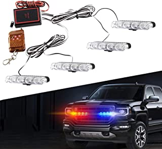 Amber 4 in 1 LED Police Lights Emergency Strobe Lights For Truck Vehicle Warning Flashing Caution Light Bar Grilles DRL Police Motorcycle DC12V Wireless Remote Control