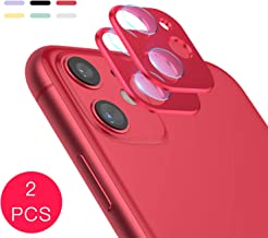 Camera Lens Protector for iPhone, Aluminum Alloy Lens Protective Ring - 2 Pcs (Rde, iPhone 11)