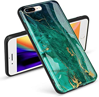 GVIEWIN Marble iPhone 8 Plus Case/iPhone 7 Plus Case, Ultra Slim Thin Glossy Soft TPU Rubber Gel Silicone Phone Case Cover Compatible iPhone 7 Plus/8 Plus(5.5 inch) (Green/Gold)