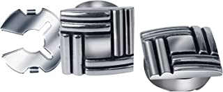 HJ Square Button Covers 10mm Lines Pattern Substitute to Traditional Cufflinks for Men