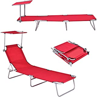 Giantex Lounge Chaise Foldable and Adjustable 5 Reclining Positions W/Sun Shade for Garden Beach Patio Pool Seat Outdoor Portable Recliner Lounge Chair (Red)
