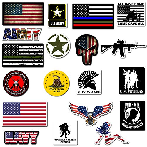Hard Hat Stickers, Premium Thick Funny Vinyl Decals for Hardhat, Helmet, Toolbox, Laptop, Mug, Car Bumper and More   Waterproof   American Flag (Military Assort)
