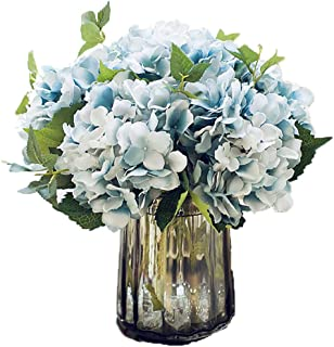Anlise Artificial Hydrangea Flowers Fake California Hydrangea Silk Bouquet Flower for Home Wedding Decor, Pack of 4 (Blue)