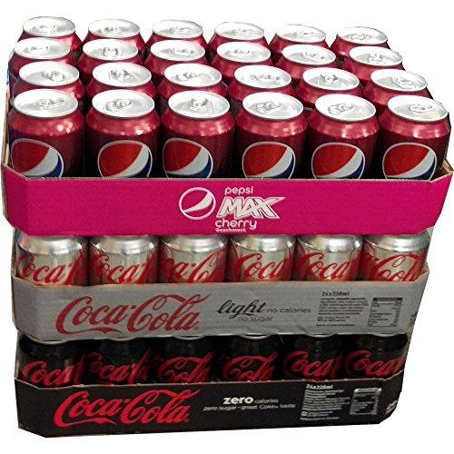 Pepsi Max Cherry, Coca Cola Light & Coca Cola Zero je 24 x 0,33l Dose XXL-Paket (72 Dosen gesamt)