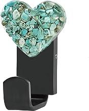 Amogeeli Handdoekhouder zwart mat boren, kledinghaak wandmontage, hartvormige helende stenen wandhaak metaal garderobehaak...