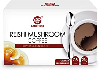 GANOHERB Ganoderma Lucidum Coffee 2 In 1 Instant Black Coffee Lingzhi, Delicious,Nutritious And Flavorful With 100% Certified Organic Reishi Mushroom Spore And Extract