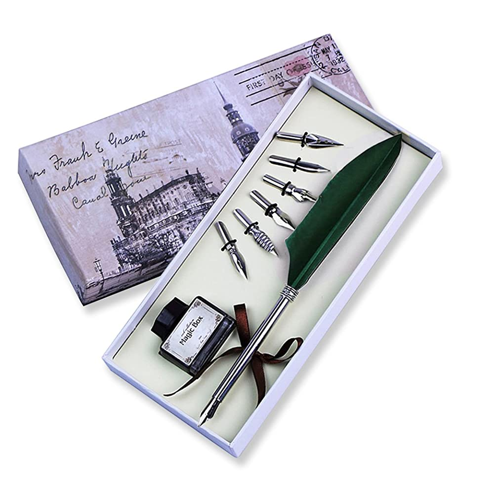 FUNRUI Vintage Feather Pen Set Antique Writing Feather Quill Dip Pen Calligraphy Quill Fountain Pen with Empty Ink Bottle and 6 Pcs Metal Nib Set (Dark Green)