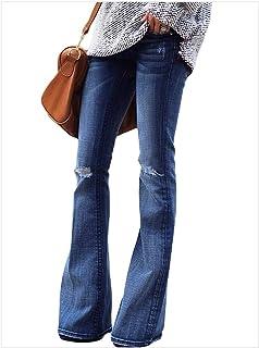 e0e08b033b9 CLOTPUS Womens High Waist Flared Bell-Bottom Denim Jeans Bootcut Wide Leg  Pants Skinny