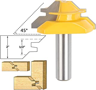 Baowox 1/2 Inch Shank 45 Degree Lock Miter Router Bit 3/4 Inch Stock Joint Router Bit Woodworking Cutter Tool