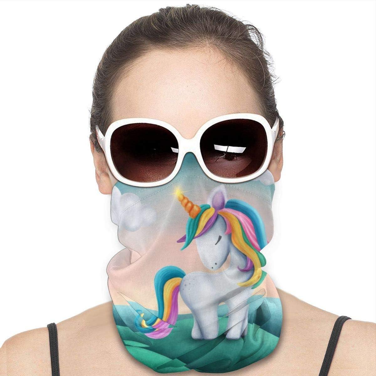 KiuLoam Women Bandanas Face Mask, Magic Unicorn Stars Neck Gaiter Mask Headband for Men Face Scarf Dust, Outdoors, Sports