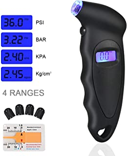 URAQT Manómetro Digital Presión Neumáticos, Manómetro Electrónico de Neumáticos, Medidor de Presión Neumáticos con Pantalla LCD Retroiluminada para Auto,Motocicleta, Bicicleta