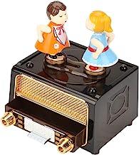 Muziekdoos, 17,5 × 13,5 × 11cm Retro Radio Vorm met Mooie Poppen Opslag Muziekdoos Bruiloft Valentijnscadeau Liefdes Kusse...