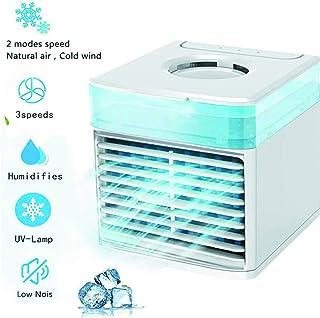 Mini Aire Acondicionado, Ventilador De Escritorio Mini Enfriador Evaporativo con LáMpara UV Refrigerador De Aire PortáTil Aire Acondicionado Mini USB 5 En 1, para El Hogar/Oficina (Blanco)