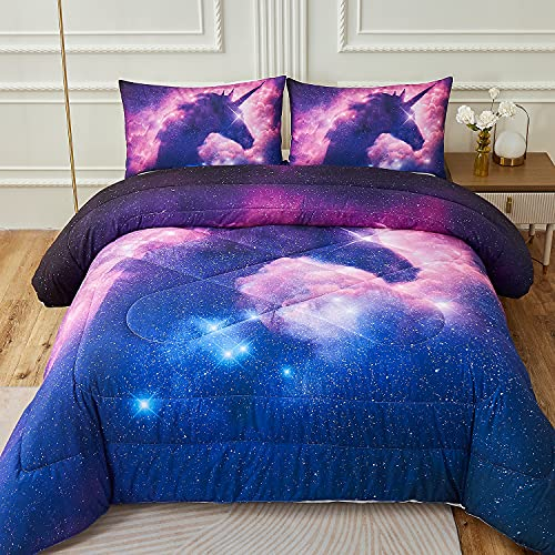 Namoxpa Galaxy Unicorn Kids Bedding Comforter Sets Psychedelic Space Pink Purple Unicorn Comforter Sets for Teens Girls and Boys,Queen Size