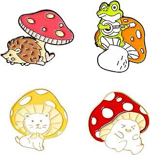 BeeGift Enamel Brooch Pins Cute Cartoon Mushroom Brooches Cat Frog Hedgehog Animal Plant Brooch Pin for Backpack Clothes D...