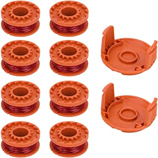 SKD RV Tech Weed Eater Spools Replacement String Trimmer Line for Worx Electric String Trimmer WA0010 (8 String Line Spool +2 Trimmer Cap)