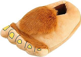 F Fityle Novelty Hobbit Furry Slippers for Adult Men Women, Funny Monster Adventure Hobbit Bigfoot Indoor Floor Shoes