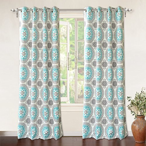 "DriftAway Bella Medallion/Floral Pattern Room Darkening/Thermal Insulated Grommet Window Curtains, Two Panels, Each 52""x84"" (Aqua/Gray)"