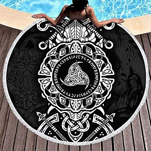Toalla de playa redonda con runas vikingas, de microfibra, ligera, para playa, picnic, playa, yoga, viaje, para dos personas, color blanco, 150 cm