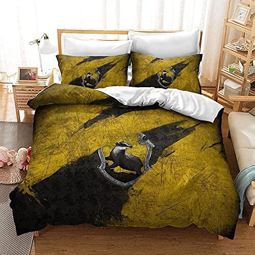 YSSMGS Harry Potter - Juego de funda de edredón y funda de almohada de Harry Potter, diseño clásico de insignia, cremallera oculta (A02, 220 x 240 cm + 80 x 80 cm x 2)