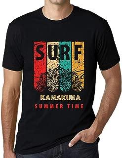 Men's Vintage Tee Shirt Graphic T Shirt Surf Summer Time Kamakura Deep Black