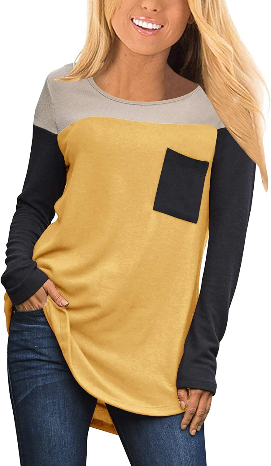 Topstype Womens Large special price !! National products Long Sleeve Tunics Crew Neck Tee Shirt Casual El