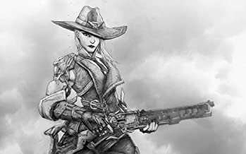 Ashe Giclee Print of pencil drawing of character from Overwatch video game