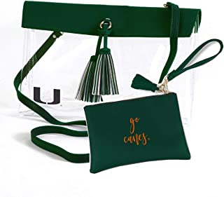 Desden Miami Hurricanes Clear Handbag and Wristlet Combo with Logo, Vegan Leather Trim and Tassels