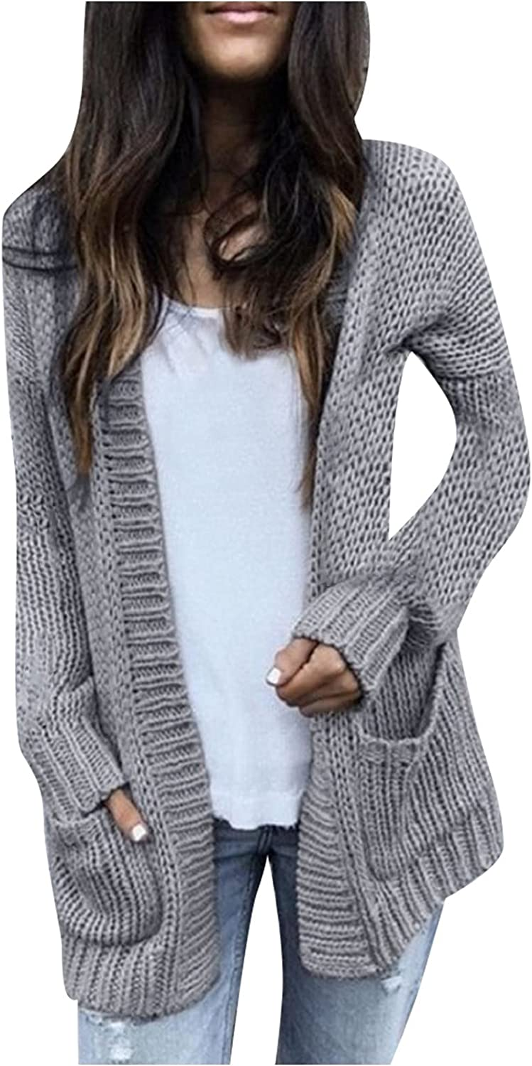 Open Front Sweater Coat for Women Autumn Solid Color Pockets Jacket Casual Loose Knitted Outerwear