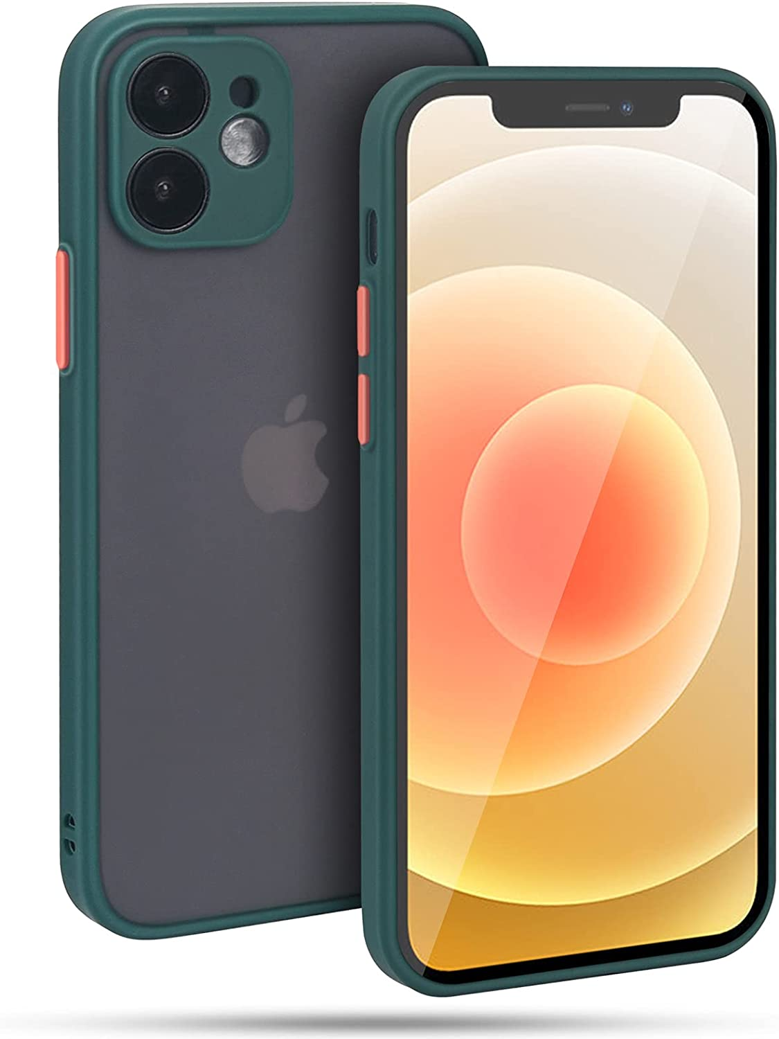 MQT Compatible with iPhone 12 Case,Translucent Matte Hard Back with Soft Edge Protective Cover,Full Camera Lens Protection, 6.1 Inch, Dark Green