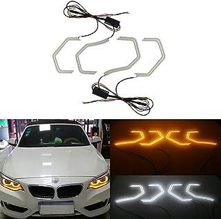 GTINTHEBOX Switchback Amber/White Headlight LED Daytime Running Lights Angel Eye Retrofit Kit with Relay Wiring for BMW 2 3 4 5 Series