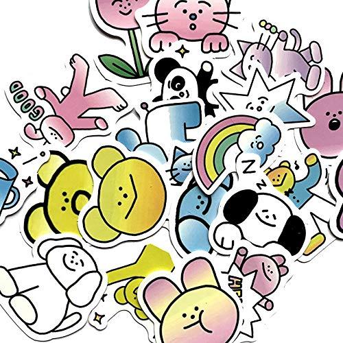 RSZHHL Sticker de Carro 21 Piezas de Dibujos Animados Lindo Gato Degradado Pegatinas para monopatín Maleta portátil Equipaje refrigerador teléfono Coche Estilo DIY Pegatina