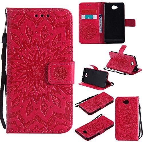 kelman Handyhülle für Nokia Lumia 650 (5.0') Hülle Schutzhülle 3D Sonnenblume PU Leder + Soft Silikon TPU Innere Schale Mode Prägung Brieftasche Flip - [Rot]