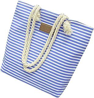 Wultia - Bags for Women Fashion Women Casual Stripe Print Canvas Handbag Ladies Single Shoulder Messenger Bag Bolsa Feminina Blue
