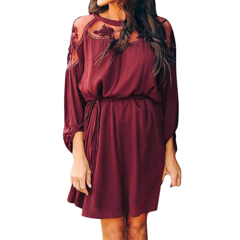 UONQD Dresses Women Summer Sexy Mesh Sheer Floral Chiffon Long Sleeve Loose Short Mini Dress
