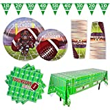 Gatherfun Football Theme Party Supplies Pack Serve 25 Paper Plates, Napkins, Cups, Tablecloth and Banner for Birthday Party Super Bowl Tailgate Decoration