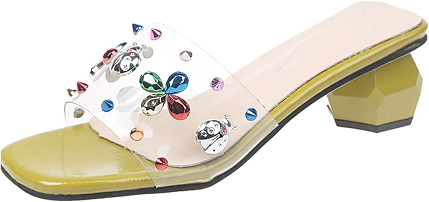 Heart to hear slippers summer Sweet colorful Rhinestone Outside Ladies Slides Med Heels Transparent,