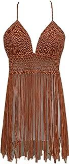 Fringe Bikini Halter Crop Top Handmade Crochet Swimsuit Summer Beachwear