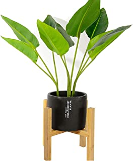 Bamboo Wooden Plant Stand Indoor Outdoor Flower Pot Holder Up to 8 Inch Planter Rack, Natural Bamboo Color (Pot Not Included)