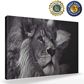 Black and White Lion Head Portrait Wall Art Painting Pictures Print On Canvas Animal Picture for Living Room Home Modern Decoration,12x16 inch
