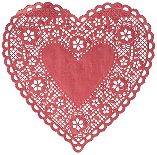 Hygloss Products Heart Paper Doilies - 8 Inch Red Lace Doily for Decorations, Crafts, Parties, 12 Pack