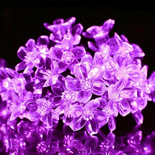 Berocia ストリングライト ソーラー led 屋外 50 led 2モード 桃の花 イルミネーションライト太陽充電 IP65防水 クリスマスライトソーラーパネル飾りライト パーティー新年学園祭屋外室内庭対応 (紫の)