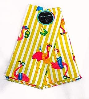 Cynthia Rowley Flamingos in Beach Attire Set of 2 Kitchen Towels | 100% Cotton