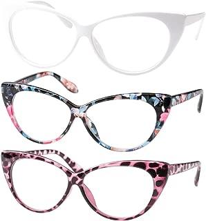 SOOLALA 3-Pair Value Pack Fashion Designer Cat Eye Reading Glasses for Womens