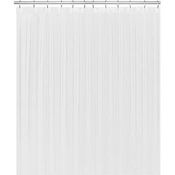 "LiBa Cloth Fabric Bathroom Shower Curtain, 72"" W x 72"" H White Heavy Duty Waterproof Shower Curtain Antimicrobial Mildew Resistant"